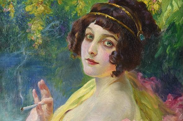 Tableau de Paul GERVAIS (1859-1944). Femme à la cigarette, 20e siècle (détail). Perpignan, Musée d'art Hyacinthe Rigaud.