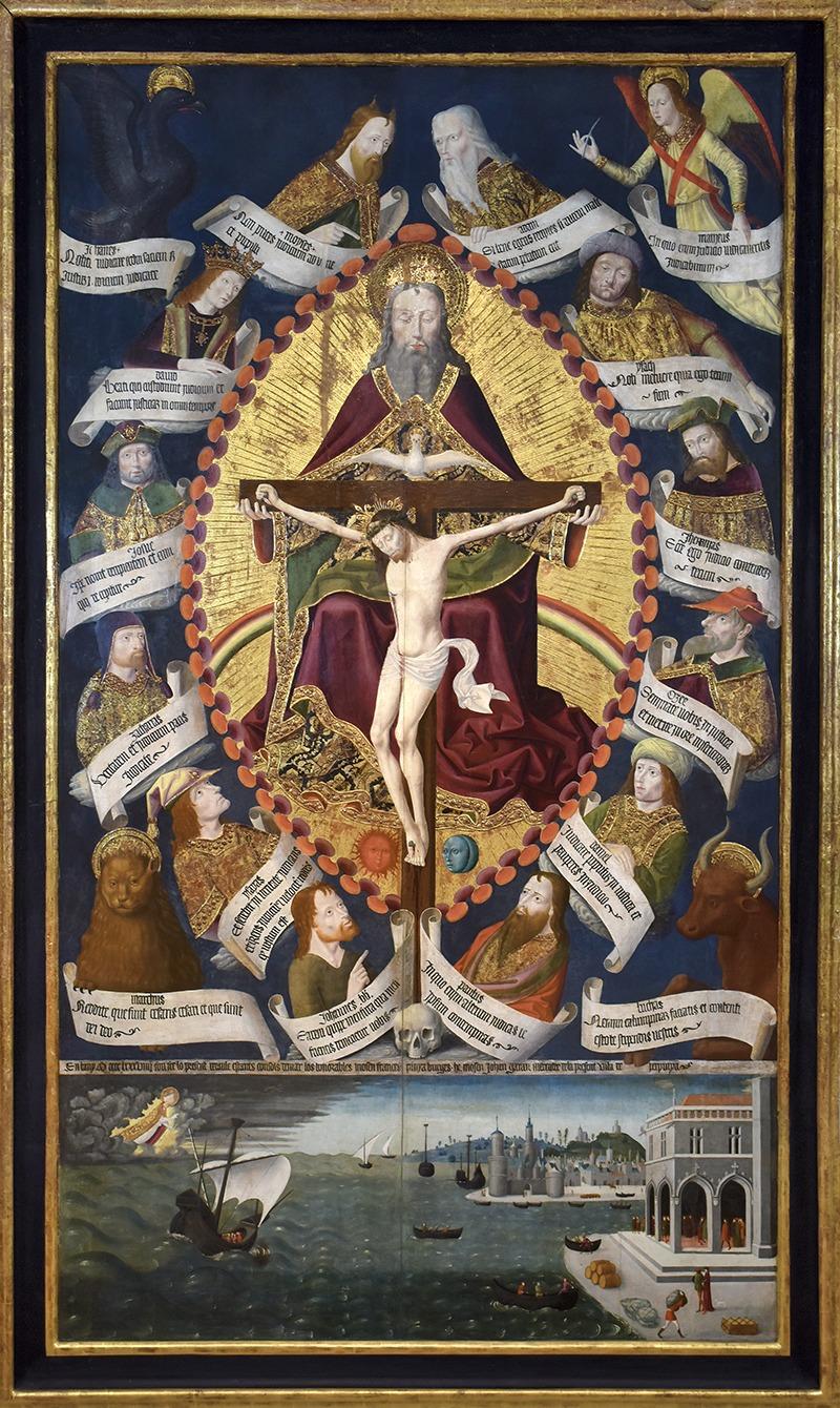 tableau de Maitre de la Loge de Mer intitulé Retable de la Trinité de 1489.