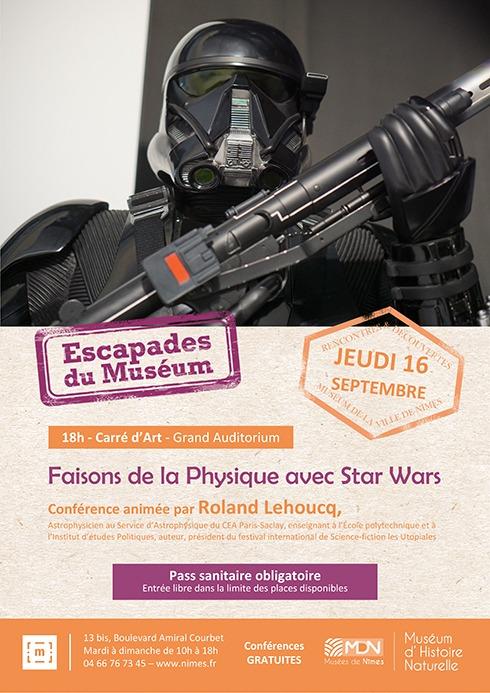 """Affiche Escapades """"Faisons de la Physique avec STAR WARS"""" Roland Lehoucq Jeudi 16 Septembre 2021"""