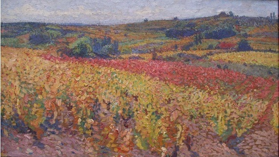 Vignes en automne, étude pour Les Vendanges - Henri Martin