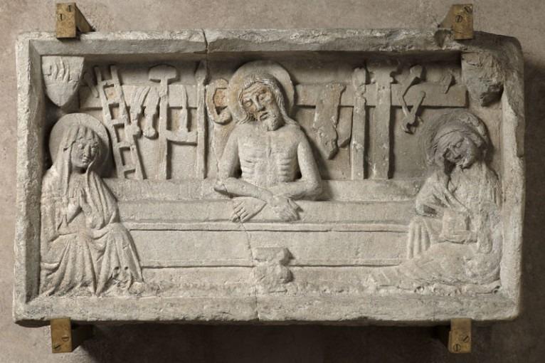 Christ au tombeau de la vision de saint Grégoire entre la Vierge et saint Jean l'Evangéliste