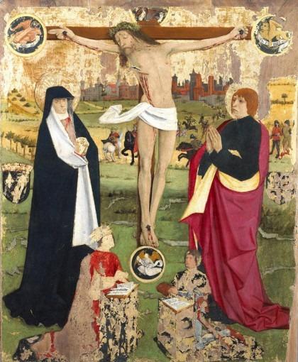 Christ en croix entre la Vierge, saint Jean et les donateurs présumés : le roi Charles VII et le Dauphin
