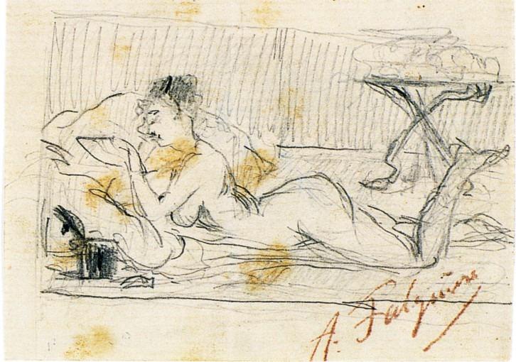 Femme nue allongée lisant.