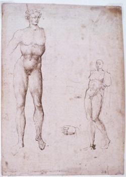 Deux étude d'hommes nus et une étude de main gauche