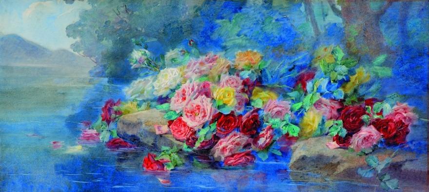Roses sur l'eau