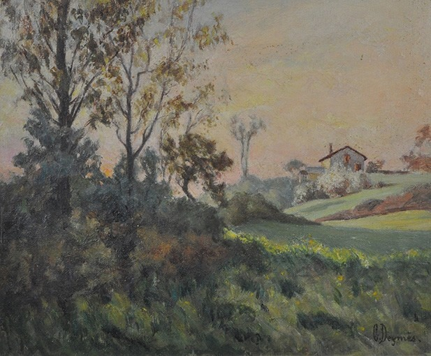 Paysage avec maison à l'arrière plan