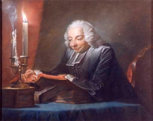L'abbé Hubert lisant aux chandelles