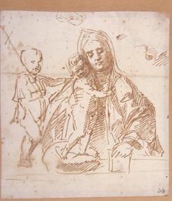 Vierge à l' enfant avec le petit saint Jean ; essai de plume