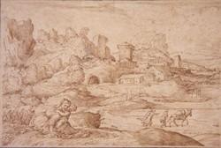 Paysage avec une ville fortifiée et une mère et son enfant au premier plan