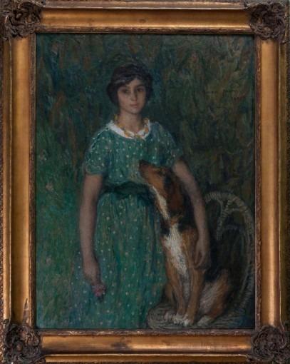 Jeune fille au chien