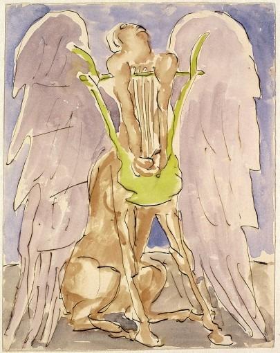 Centaure ailé jouant de la lyre