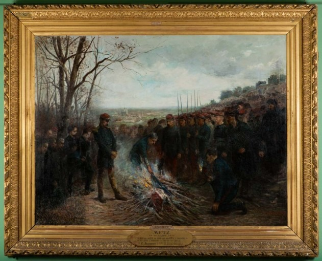 Le Général Lapasset brûlant ses drapeaux