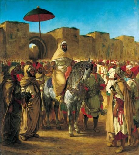 Moulay Abd-Er Rahman sultan du Maroc sortant de son palais de Meknes