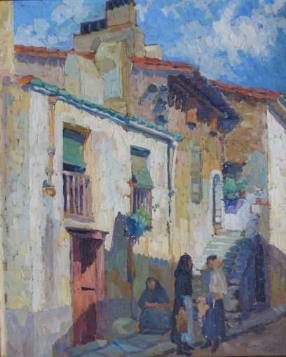 Rue de village animée