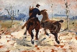 Deux chevaux menés en main