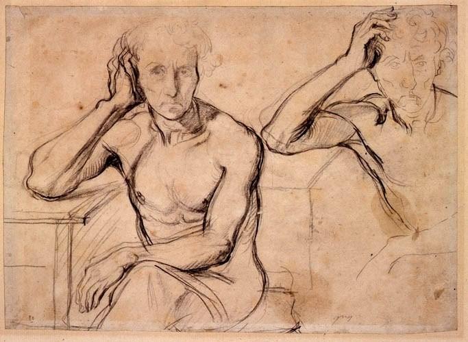Cherubini, deux études du buste nu