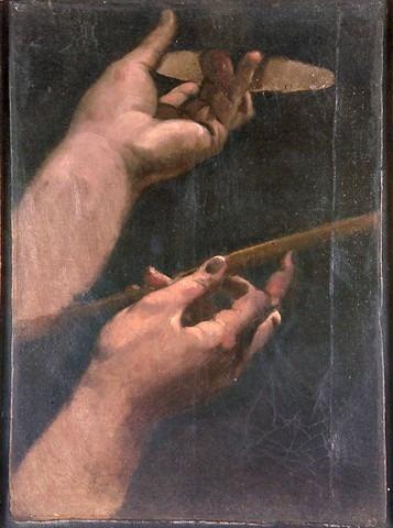 Le Voeu de Louis XIII, les mains du roi