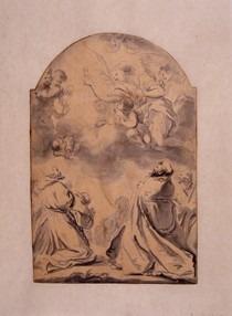 Des saints au milieu du peuple adorant l'Eucharistie présentée par un ange.