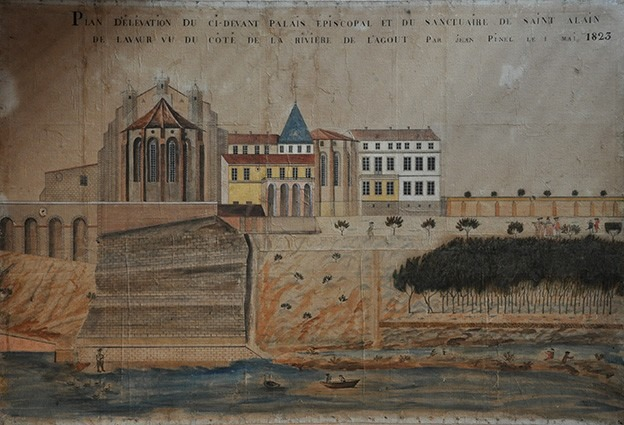 Plan d'élévation de Saint-Alain et du Palais épiscopal en 1823