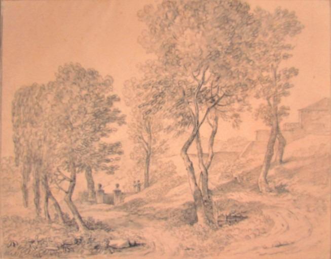 Paysage pyrénéen avec un chemin passant près d'un édicule et un autre montant vers une bâtisse