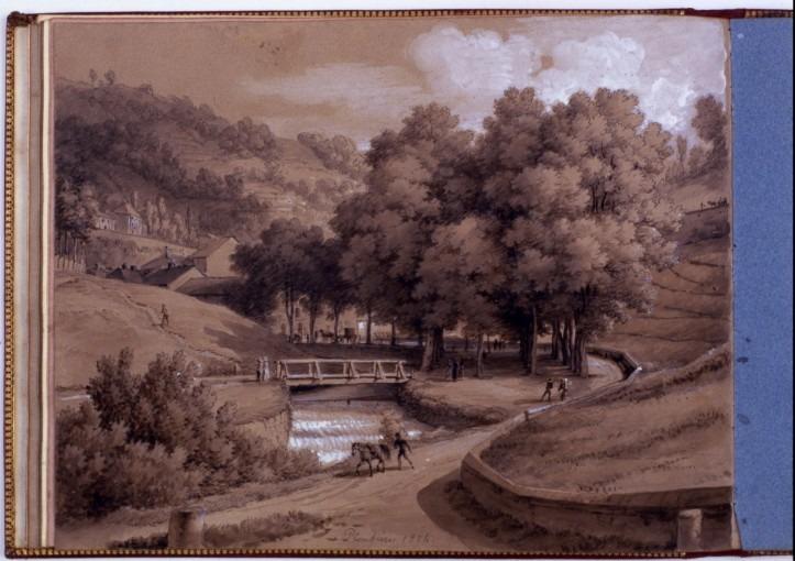 Vue de Plombières, avec pont, arbres, promeneurs et cheval au premier plan.