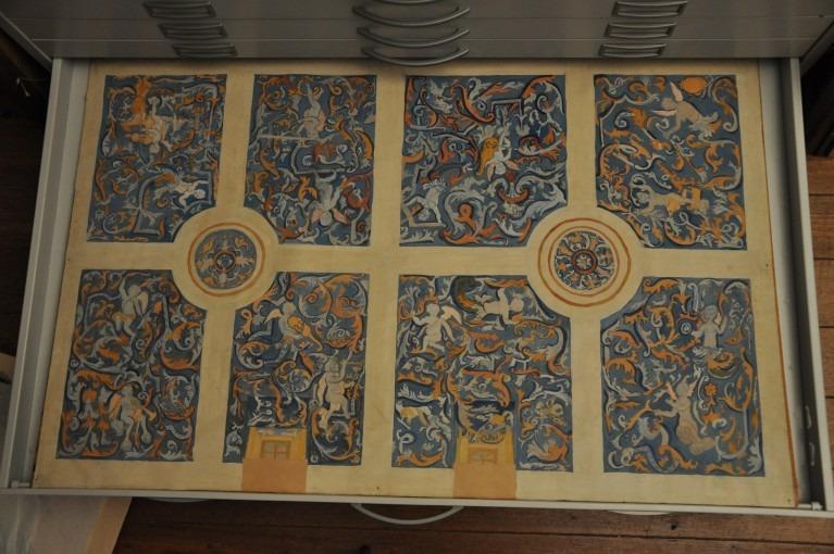 Plafond de la chapelle de la Commanderie d'Ambres