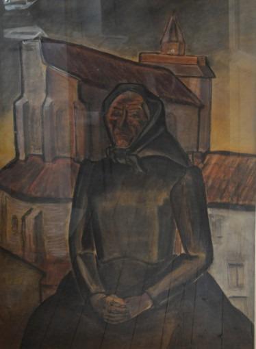 Vieille femme devant l'église de Giroussens