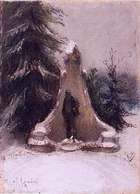Monument à Jaurès (?) sous la neige