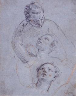 Etudes pour Vénus et Adonis avec Cupidon et des chiens.