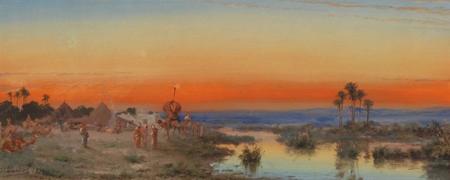 Campement arabe, vieux Biskra, effet du soir