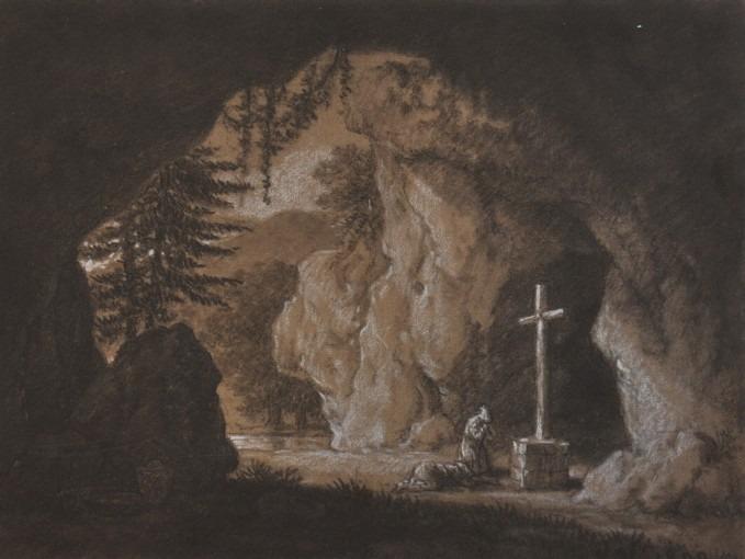 Grotte avec personnages priant devant une croix